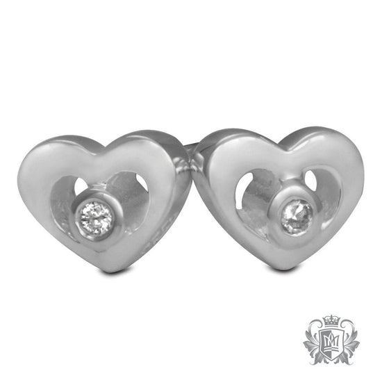 Metalsmiths Sterling Silver Diamond Heart Earrings