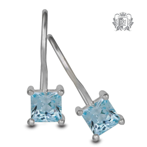 Blue Topaz Cubic Prong Set Hanger Earrings Sterling Silver