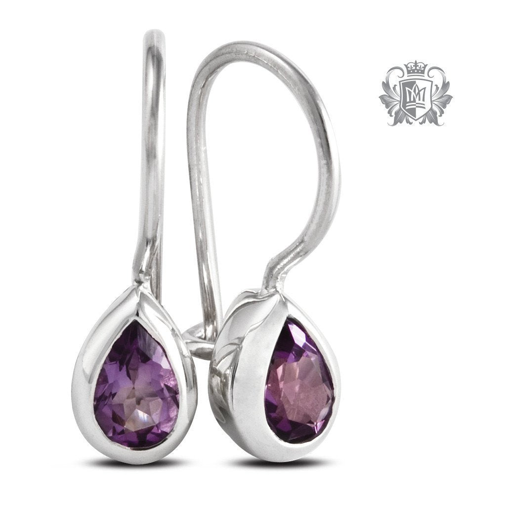 Pear Hangers - Amethyst Gemstone Earrings - 2