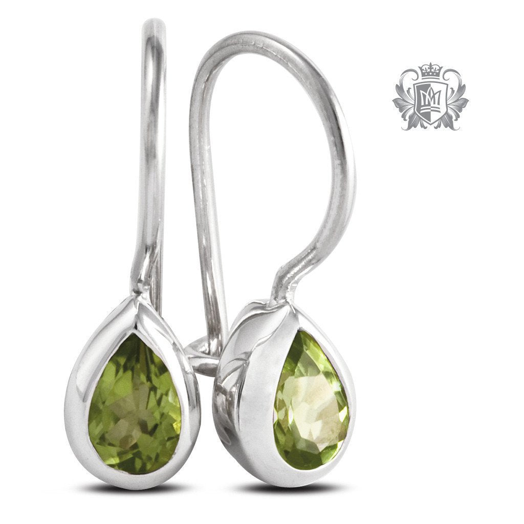 Pear Hangers - Peridot Gemstone Earrings - 8