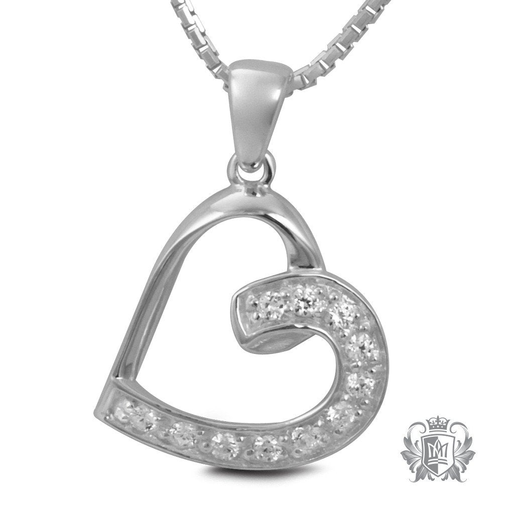 Metalsmiths Sterling Silver Pave Cubic Lobe Heart Pendant - front