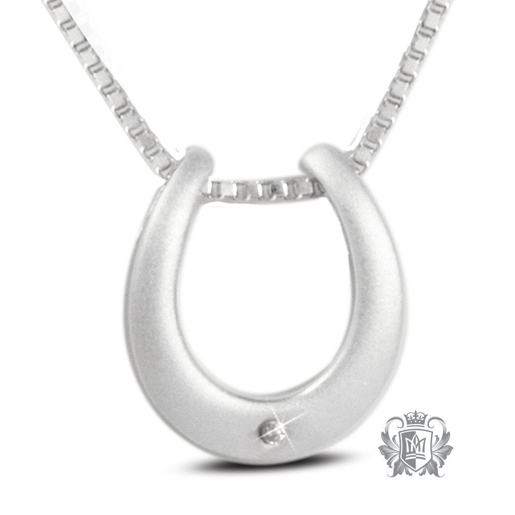 Diamond horseshoe pendant sterling silver necklace metalsmiths diamond horseshoe pendant 18 inch chain gemstone pendants 1 mozeypictures Gallery