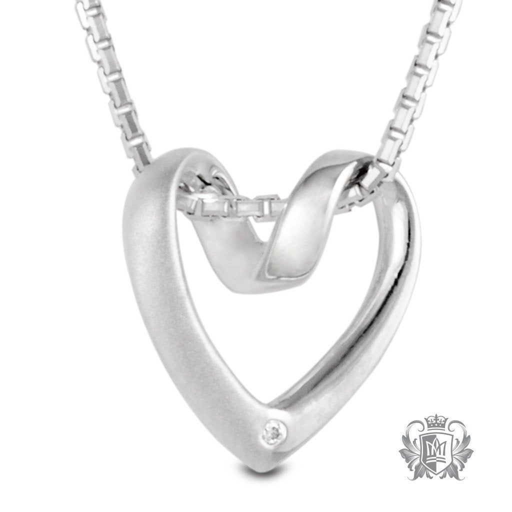 Metalsmiths Sterling Silver Diamond Heart Necklace