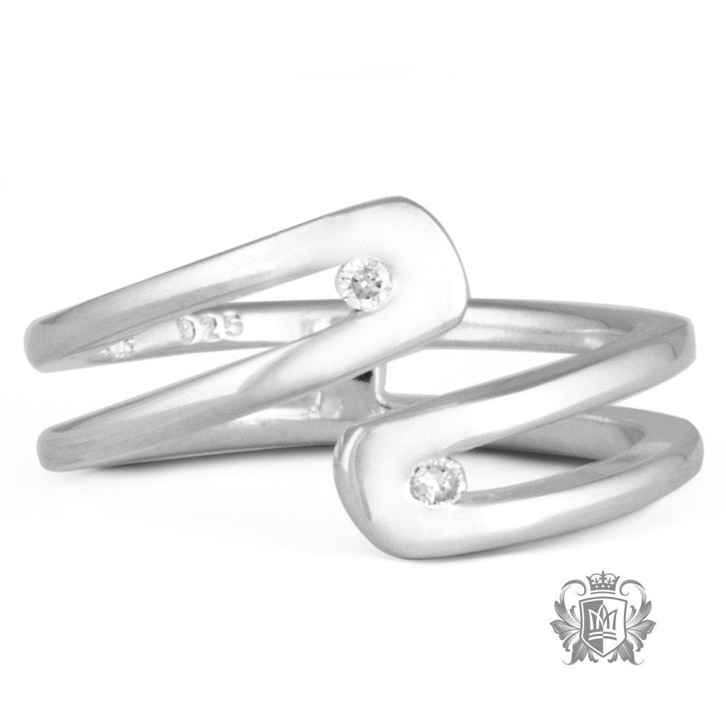 Double Diamond Bypass Ring - Metalsmiths Sterling™ Canada