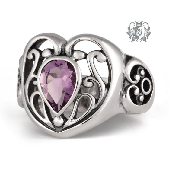 Scroll Heart Gemstone Ring - Amethyst / Size 6 Gemstone RIngs - 1