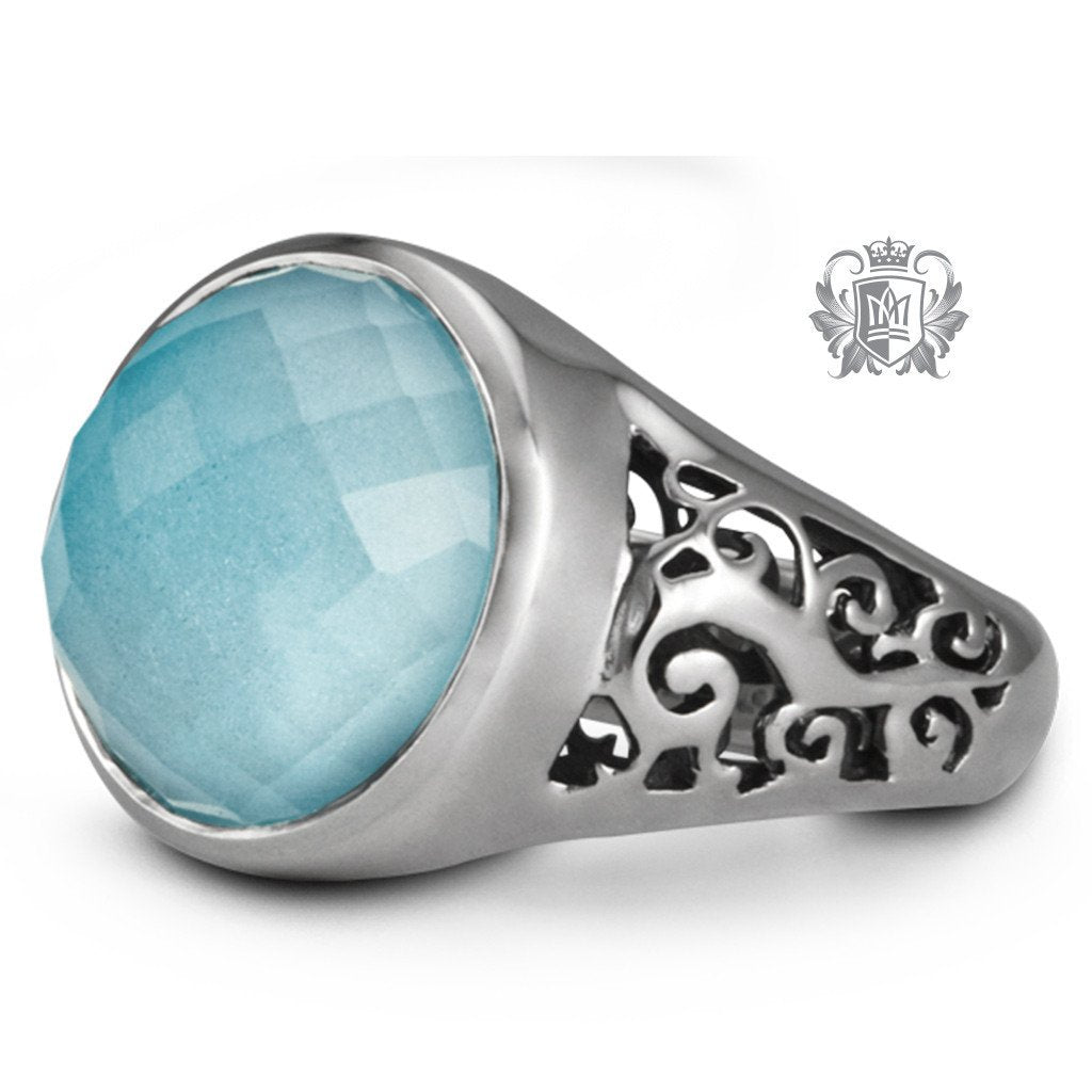 Round Checker Cut Scrolled Ring -  Gemstone RIngs - 4