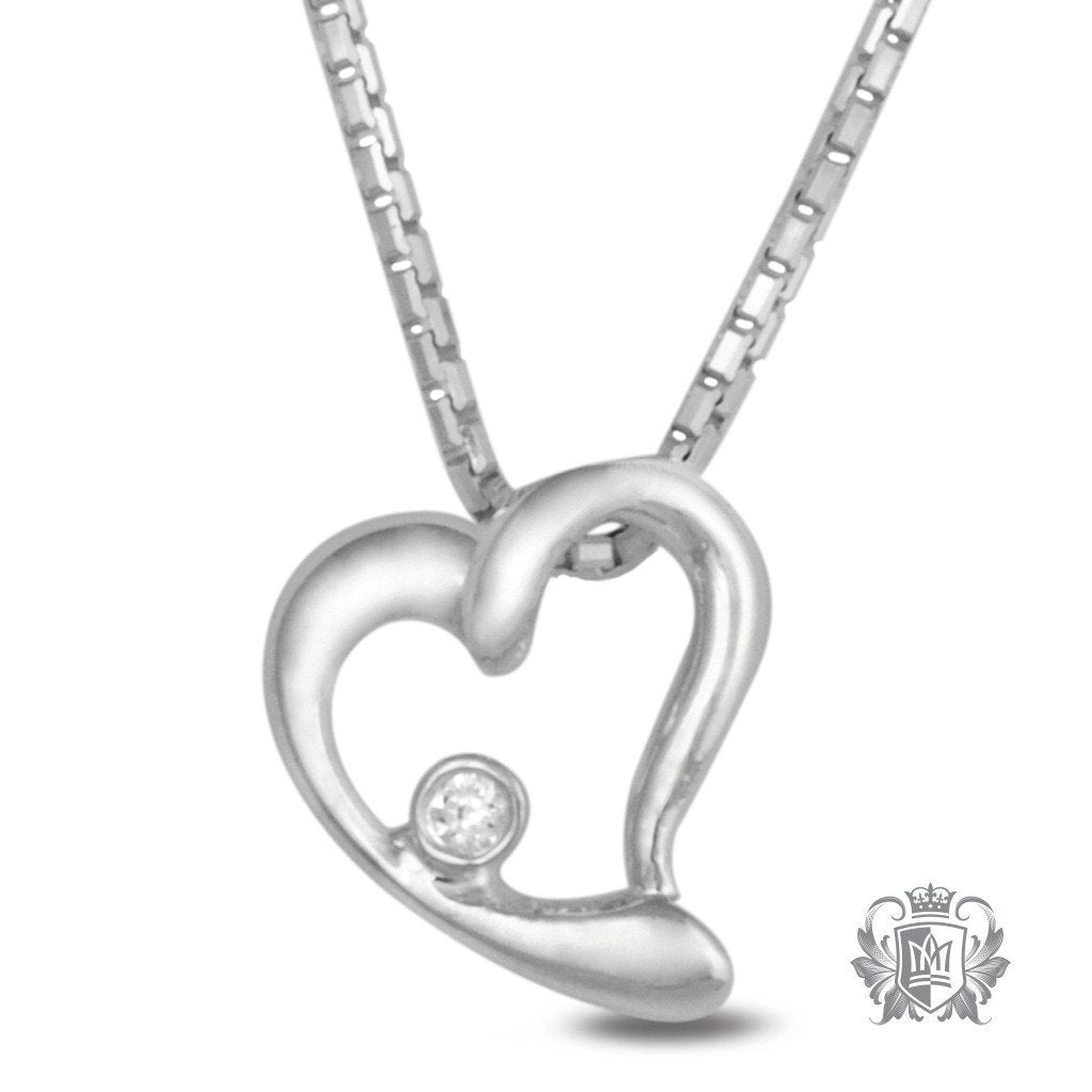 Metalsmiths Sterling Silver Open Heart Cubic Slider Necklace