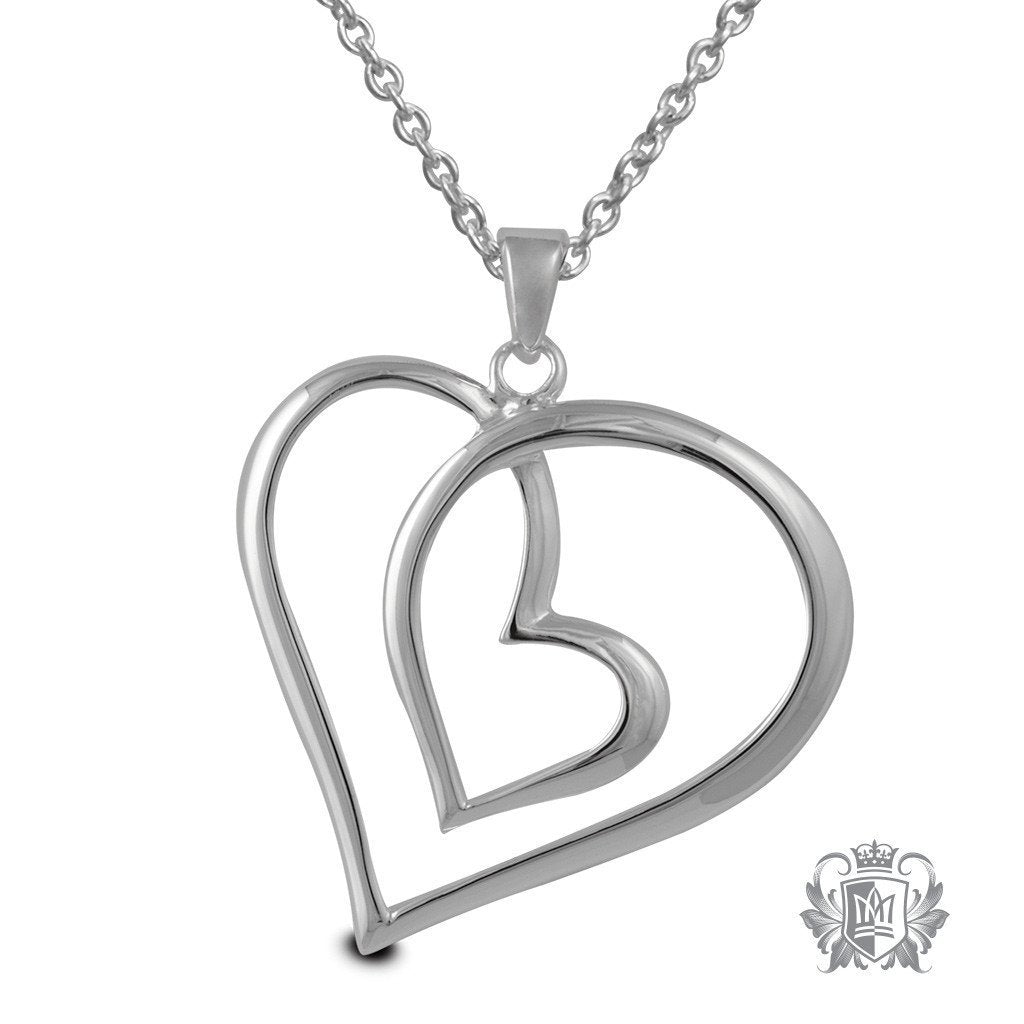 dp heart diamond amazon double quot sterling necklace silver pendant cttw com