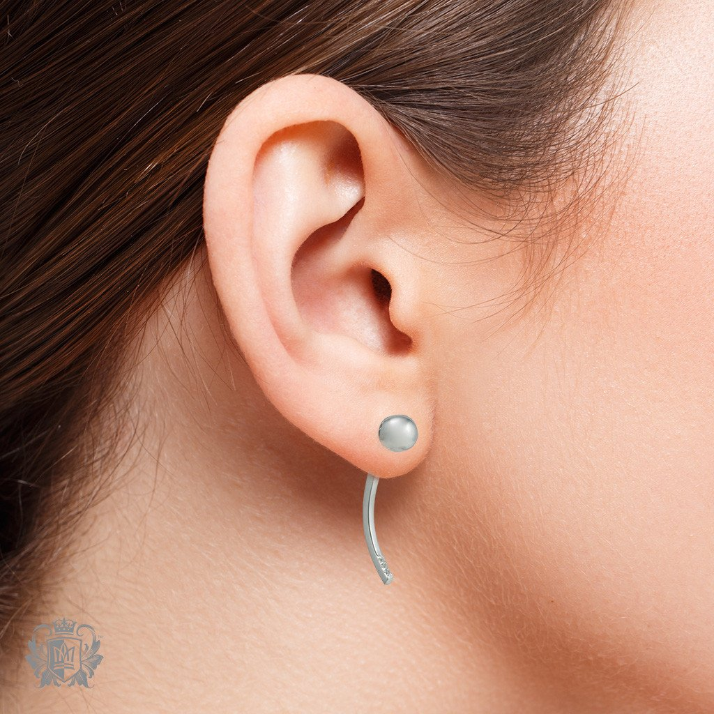Dangling Ear Jackets with Triple Prong Set Cubics - Metalsmiths Sterling™ Canada