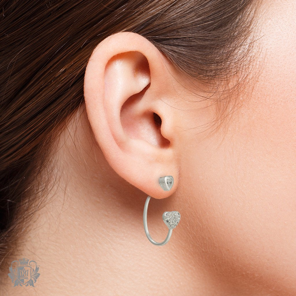 Elongated Hooped Ear Jackets with Hearts - Metalsmiths Sterling™ Canada