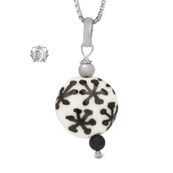 Black Snowflake Murano Glass Necklace