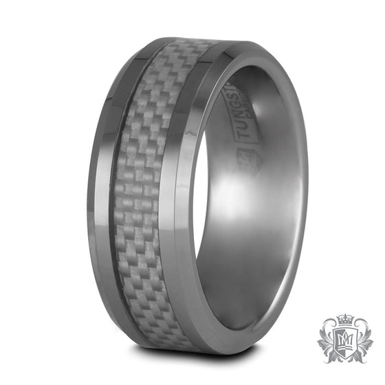 Metalsmiths Sterling Tungsten Carbide Squared Checker Band Ring