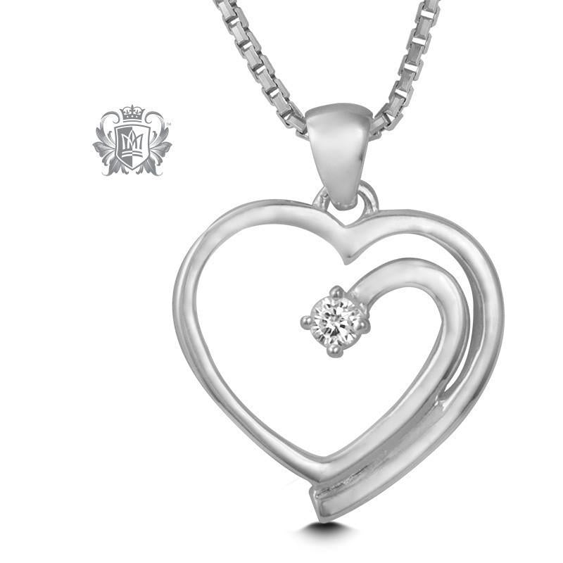Flow Heart Pendant - 18 inch chain Heart Pendant