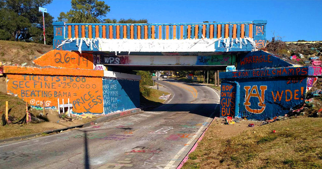 Auburn Fans roll Graffiti Bridge after 2017 Iron Bowl victory