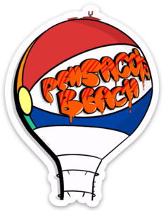 Pensacola Beach Ball Sticker (Graffiti Style)