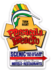 Pensacola Beach Sign Sticker (Graffiti Style)