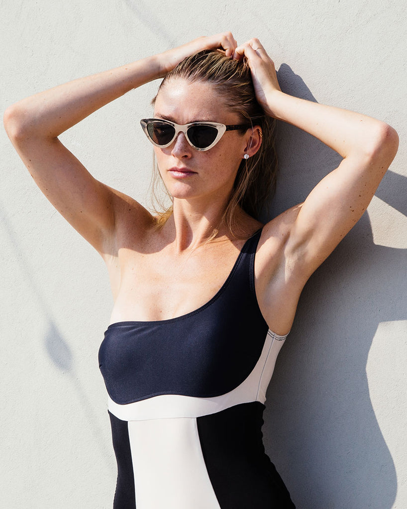 KOI SHOULDER ONE PIECE-BLACK/NUDE COMBO