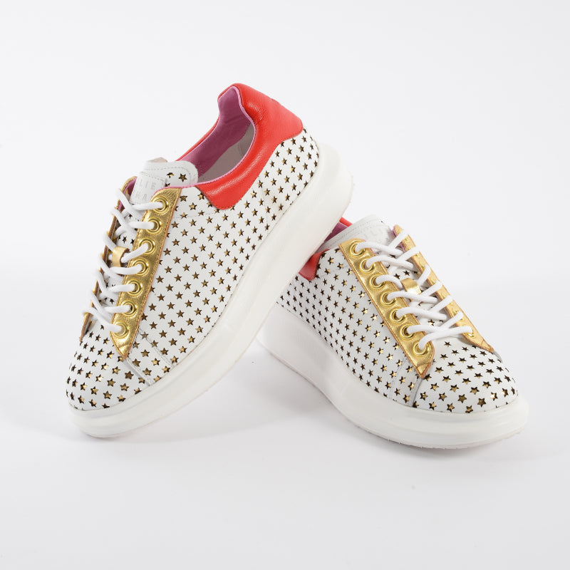Star Gazing Sneakers - White / Red