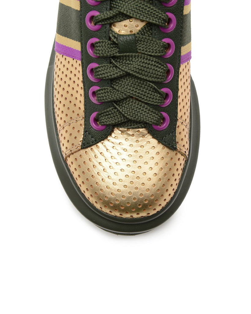 Spots and Stripes Sneakers - Gold / Olive