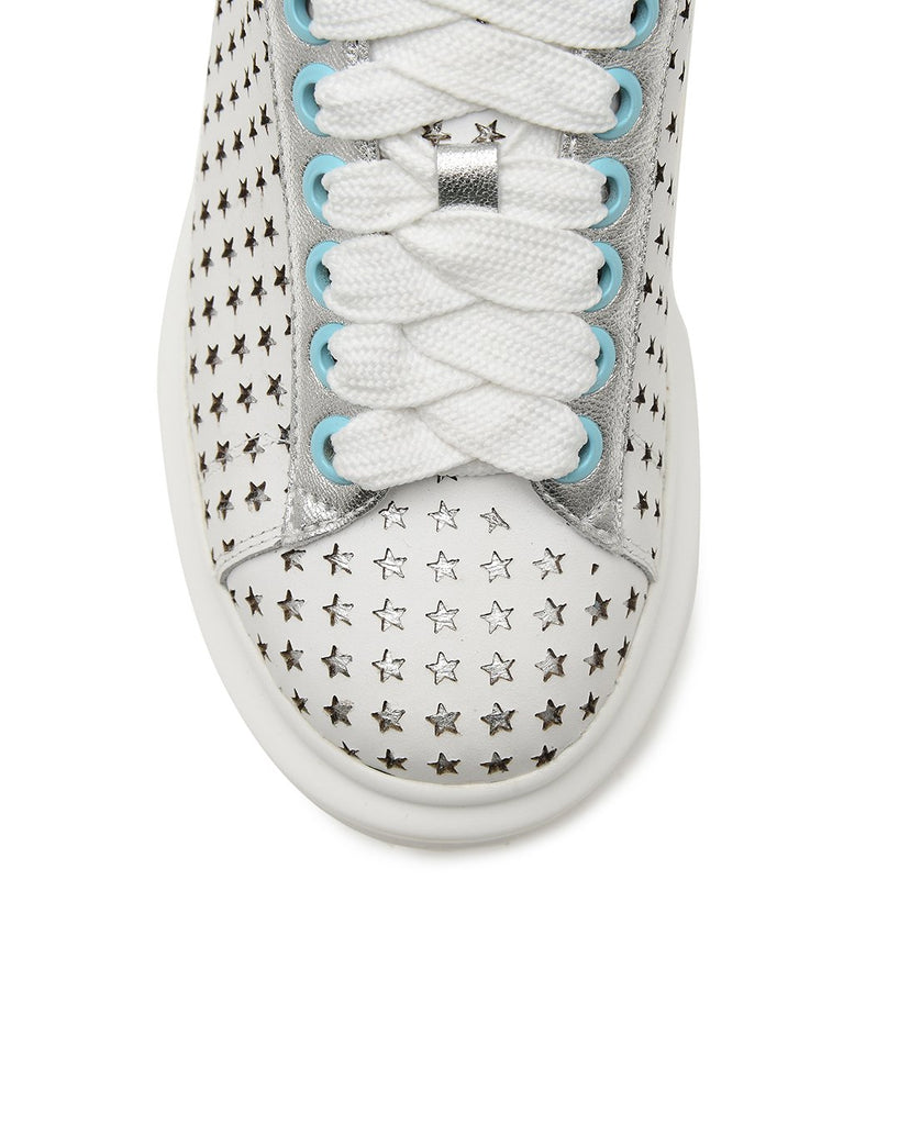 Star Gazing Sneakers - White / Aqua