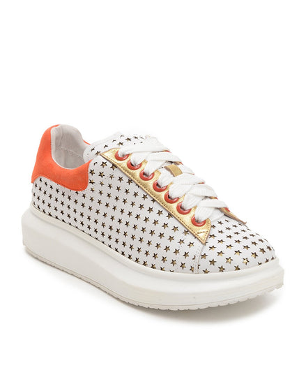 Star Gazing Sneakers - White / Orange