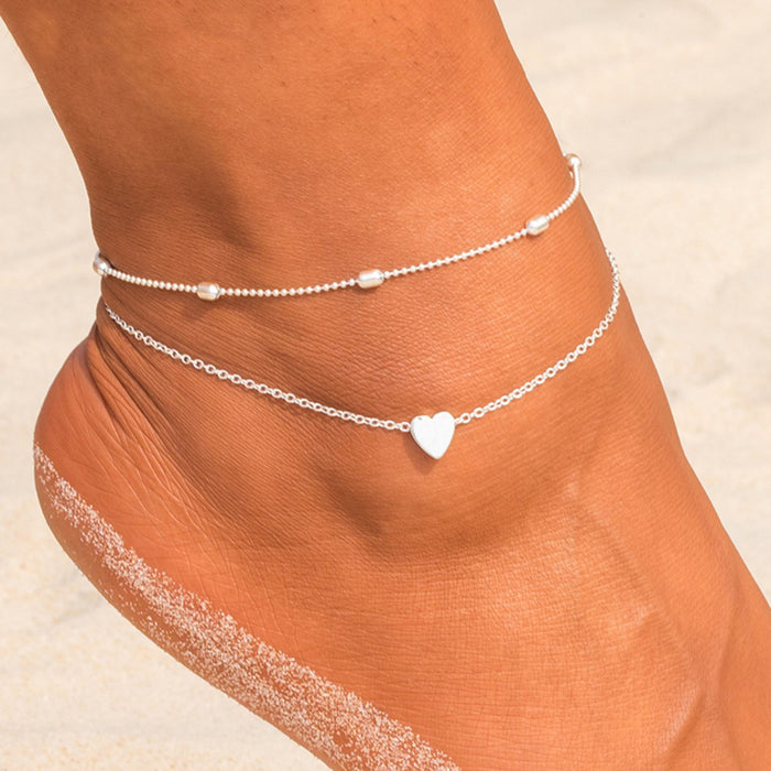 Double-layered anklet Retro beach ball chain heart-shaped anklet