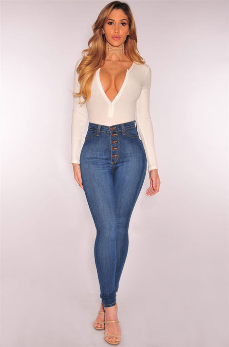 High-waist stretch slim denim pants
