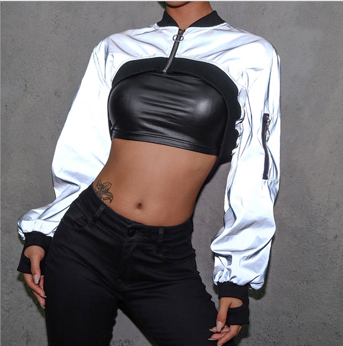Ins super fire short zipper sweater reflective clothing female loose thin handsome hip hop outer cover shirt dance jacket