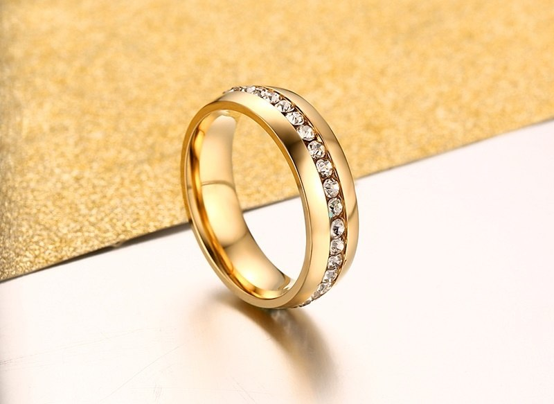 Gold color Stainless Steel Wedding Bands Shiny Crystal Ring for Female Male Jewelry 6mm Engagement Ring