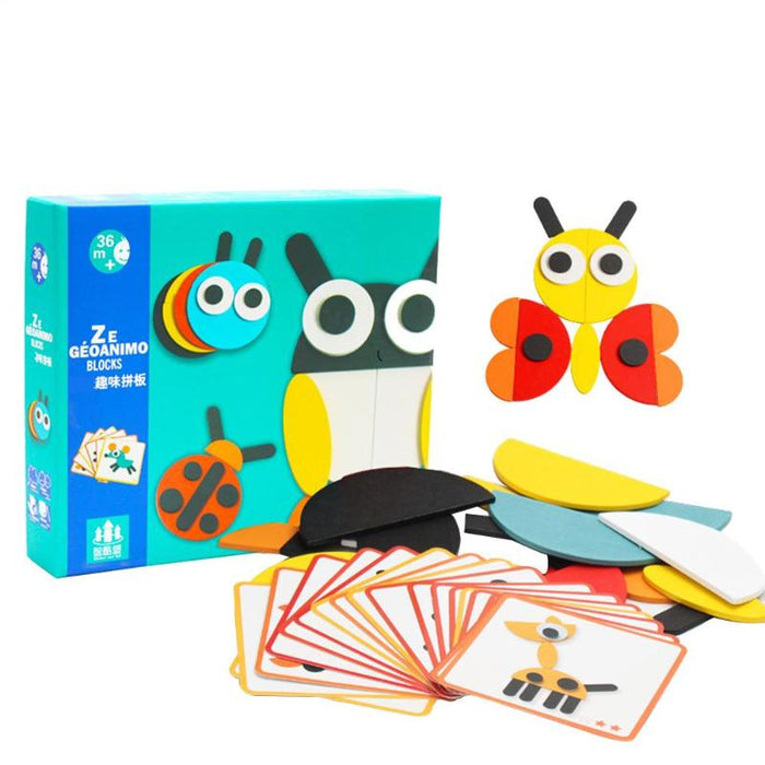Wooden animal stereo puzzle