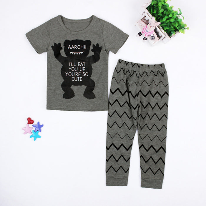 Grey bear, short sleeves, trousers, two pieces of children's wear.
