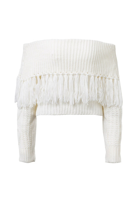 One-shoulder fringed sweater