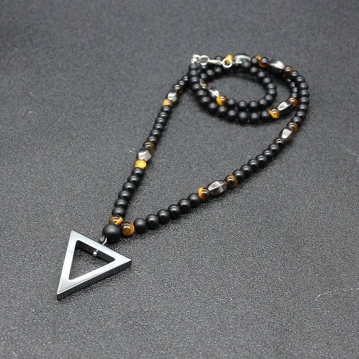 6mm Matt Black Triangle Pendant