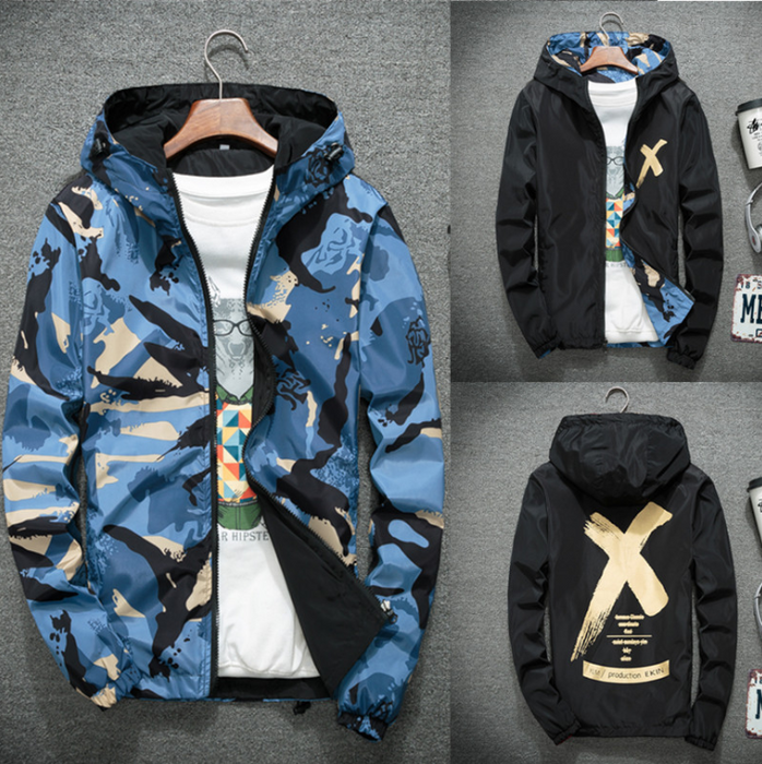 Double-faced men's jacket spring and autumn 2020 new men's jacket camouflage jacket Korean version of the tide student clothes wholesale
