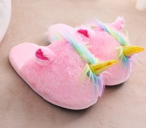 Unicorn Slippers Colored Hair Half Pack with Horned Plush Slippers