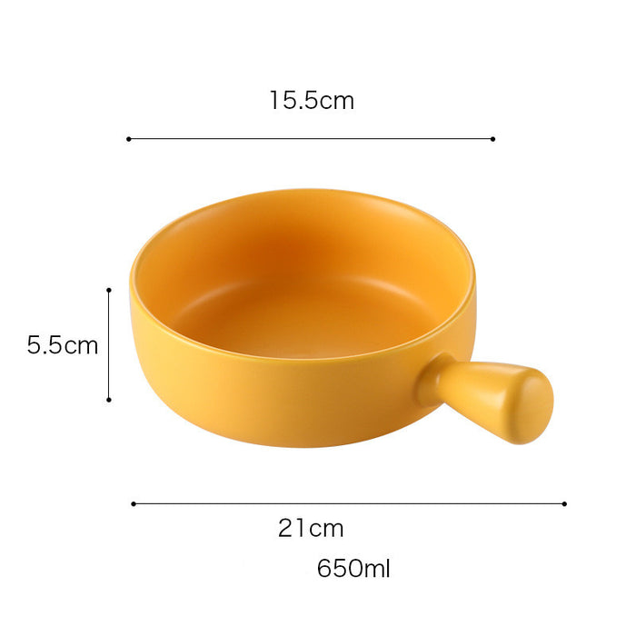 Special ceramic plate for oven with handle