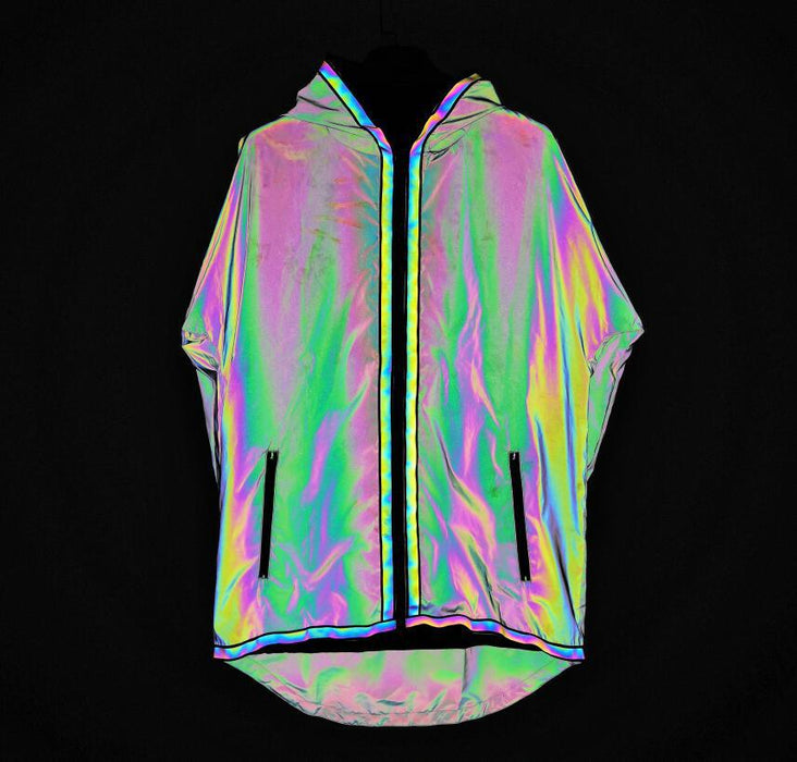 Colorful reflective hooded jacket