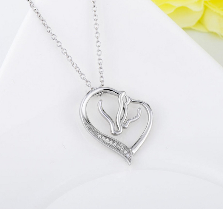 Sterling Silver Mother and Child Horse Heart Pendant