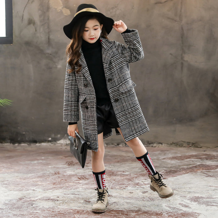 Gray plaid houndstooth coat for girls