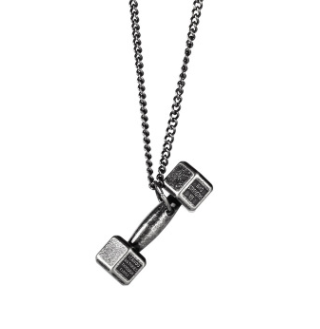 American Tide brand sports fitness weightlifting small dumbbell titanium steel necklace couple pendant European and American jewelry couple necklace