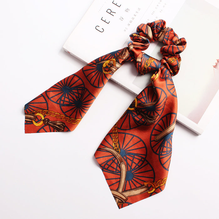 Printed silk scarf large intestine hair ring
