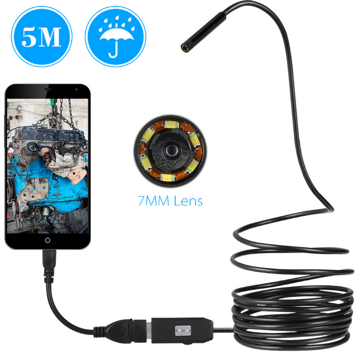 OWSOO 6 LED 7MM USB Endoscope Camera 5M Waterproof USB Wire Snake Tube Inspection Borescope For OTG Compatible Android Phones
