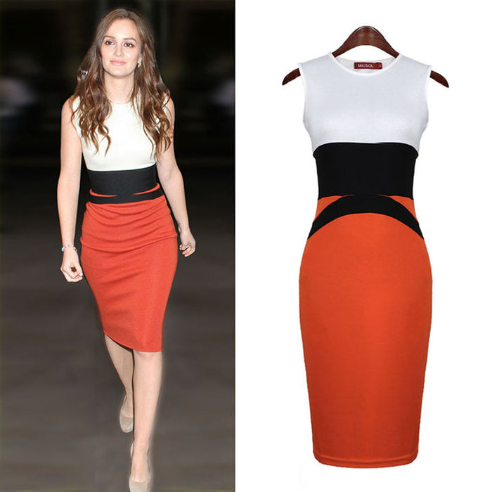 USA SIZE Stitching Tight Fitting Sleeveless Dress