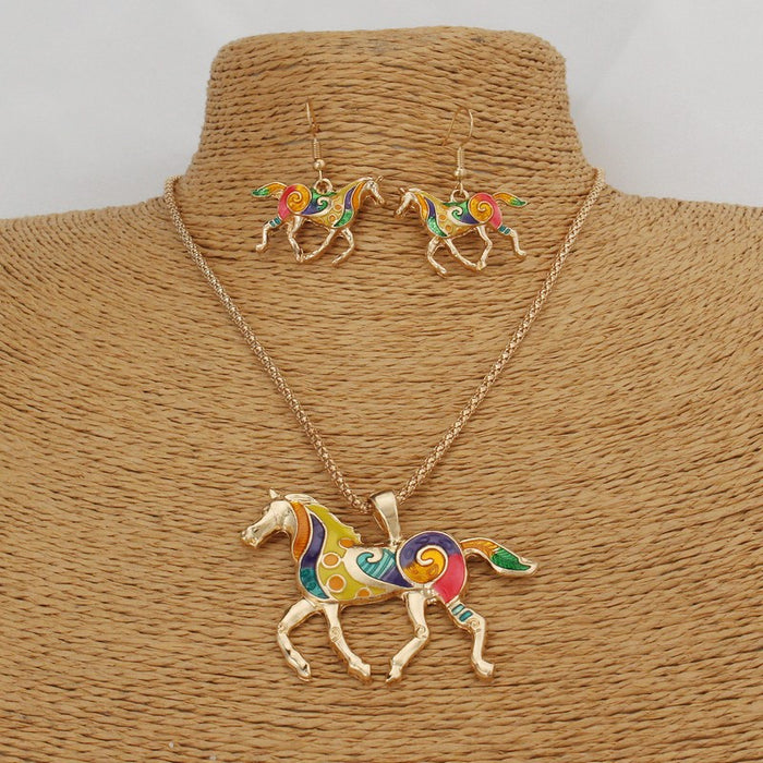Color horse necklace earrings two-piece