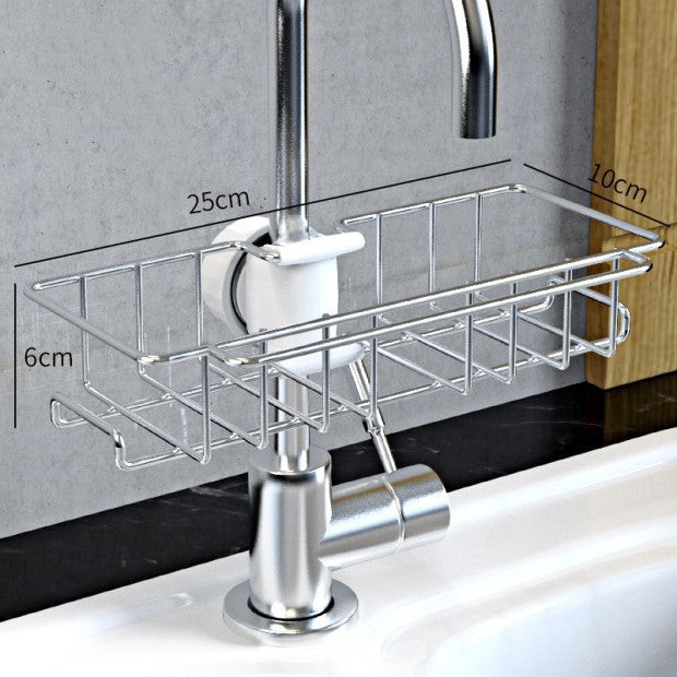 Stainless Steel Sink Storage Rack Kitchen Bathroom Adjustable Faucet Soap Dish Drainer Shelf Kitchen Organizer