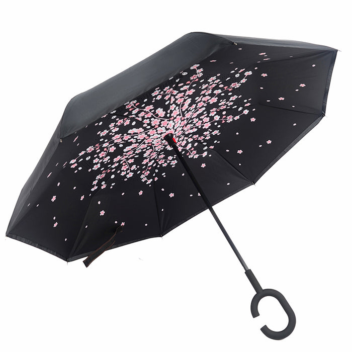 New Windproof C-Handle Double Layer Inverted Umbrella Cars Reversible Umbrella