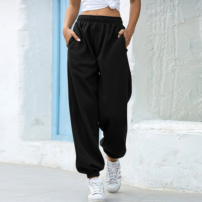 High waist casual track pants