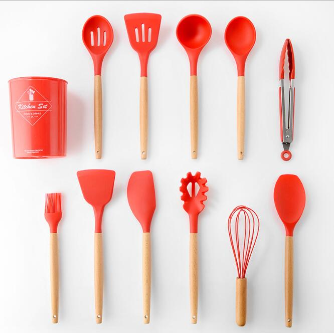Silicone Kitchenware with Wooden Handle