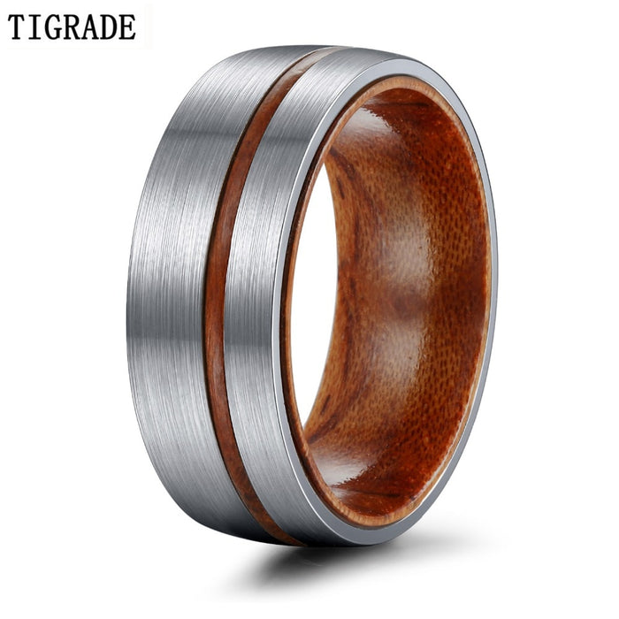 Silver Brown Wedding Ring