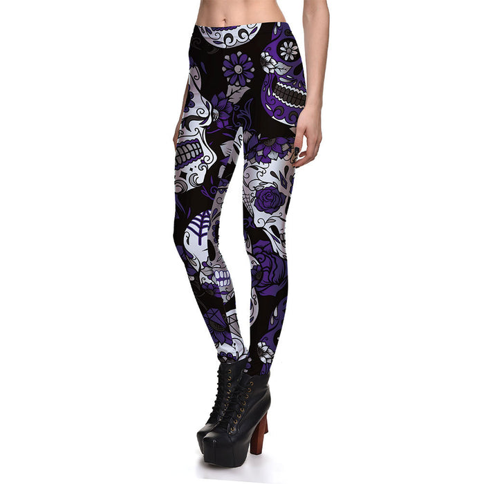 Leggings Fitness High Quality Women's Purple Skull Vines Evil Legging Sexy Stretch Digital Print Pants Cool Trousers
